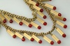 1950s french golden tube wired cherry red glass tassle necklace