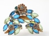Blue and green navette floral brooch earrings - unsigned Alice Caviness