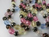 1940s antique long glass bead necklace pastel colours vintage