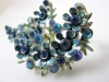 1960s blue enamel rhinestone vintage clip earrings by BSK