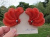 1950s big soft plastic coral feather clip on earrings