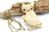 1970s large lucite wobbly eyes owl necklace signed Luke Razza