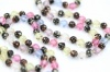 Vintage opera length 1940s glass bead necklace pastel colours