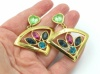 Vintage 1980s statement gold fan earrings
