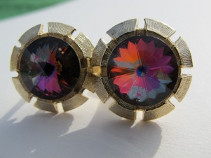 1950s rivoli multi color watermelon stone wrap around cufflinks - gold swirls