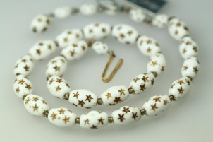 CASTLECLIFF white milk glass golden star vintage bridal necklace
