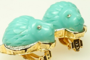 Vintage Hattie Carnegie RARE faux turquoise lion head earrings