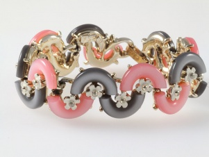 1960s enamel flower macaroni thermoset pink grey bracelet by BSK