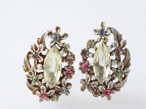 Vintage original white enamel rhinestone clip earrings by ART