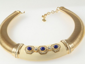 1980s vintage statement enamel faux lapis collar by Christian Dior
