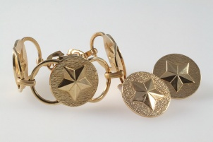 1970s vintage book chain golden star bracelet earring set - Sarah Coventry