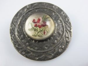 Arts and Crafts Petit Point flower on silk antique brooch pin