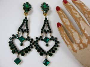 Extra long emerald czech rhinestone 5 inch earrings