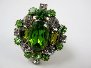 Stunning 1 1/2 inch green ice rhinestone cocktail ring