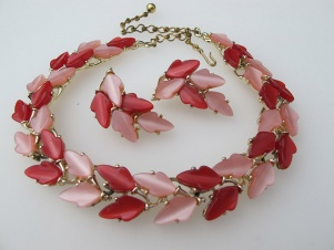 BSK signed pink and cherry red thermoset 1950s necklace earring set