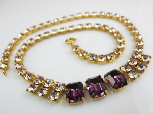 1950s purple ice rhinestone sparkly vintage necklace prom bridesmaid