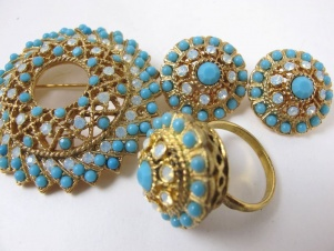 1970s 'Aquarius' brooch ring earring set by Sarah Coventry
