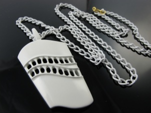 Vintage long pendant necklace modernist 1960s white enamel