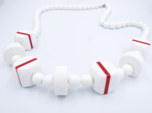 1960s vintage white red stripe plastic necklace