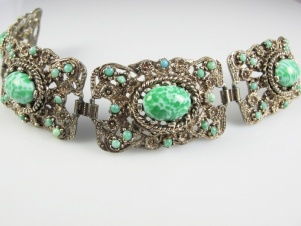 SPHINX signed vintage wide peking glass panel bracelet c1960