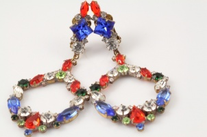 Antique czech glass statement rhinestone antique clip on earrings