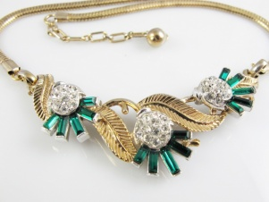 1950s Alfred Phillipe Crown Trifari emerald green baguette vintage necklace