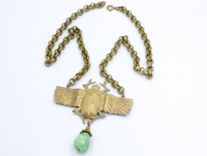 Vintage winged scarab egyptian revival necklace with peking glass