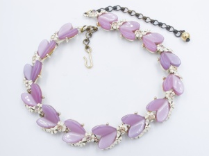 1950s RARE vintage lilac rhinestone thermoset heart necklace - BSK