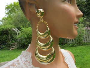 Vintage earrings outrageous 6 inches biggest we've seen