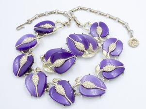 Lisner 1960s signed purple tulip thermoset necklace earrings set