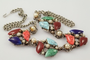 1960s faux pearl coral turquoise vintage retro necklace