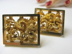 1960s original large golden framed abstract cufflinks