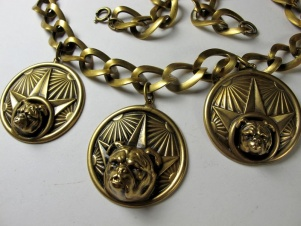 1940s to 50s bulldog star necklace by Joseff of Hollywood