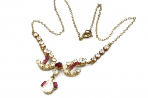 Edwardian faux ruby paste vintage necklace