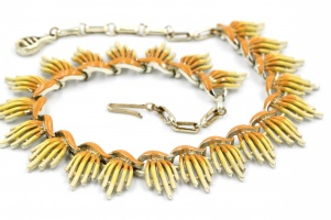 Vintage 1950s Coro yellow orange necklace - unsigned