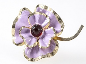 1940s large enamel flower red cabochon vintage clip by Coro