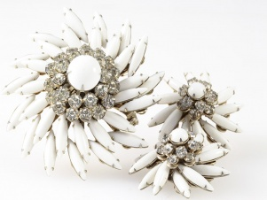 1950s milk glass spikey navette ice rhinestone JUDY LEE set