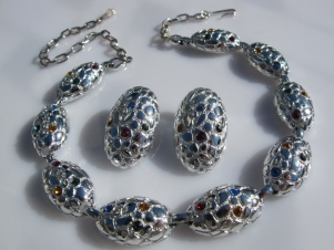 Signed Judy Lee vintage rhinestone necklace and earring set