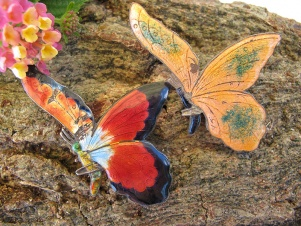 Sterling silver art deco pair enamel butterfly brooches - shabby
