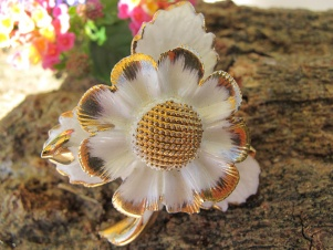 Antique Cara China Staffordshire shabby flower brooch
