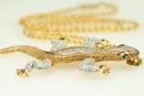 CHRISTIAN DIOR long vintage snake chain necklace lizzard brooch pendant