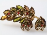 1960s olive orange heart brooch earring set - Juliana