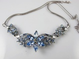 1940s Coro blue rhinestone choker vintage bride wedding necklace - MINT