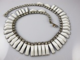 1950s Kramer of New York vintage white thermoset necklace bridal
