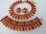 LISNER parure orange gold bronze thermoset necklace bracelet earring set