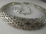 1970s textured silver tone vintage choker necklace 20 inches long- retro