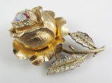 1950s RARE signed Coro rhinestone rose bud brooch watch