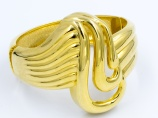 1980s vintage statement big gold clamper bracelet cuff