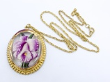 1950s reverse carved lucite large orchid pendant necklace