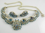 Exquisite Signed vintage blue rhinestone enamel necklace earring set